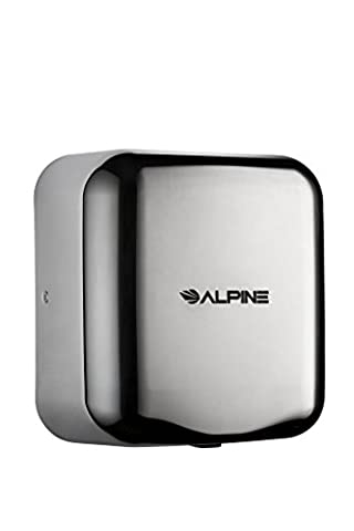 Alpine Hemlock Heavy Duty, Commercial, 1800 Watts, 220-240 Volts, High Speed, Stainless Steel, Automatic Hot Hand Dryer - Stainless Steel (Alpine Industries)