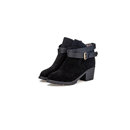 Fheaven Women Winter Snow Ladies Low Heel Ankle Belt Buckle Martin Boots Shoes (US:5, Black) (Round Covered Buckle Belt)