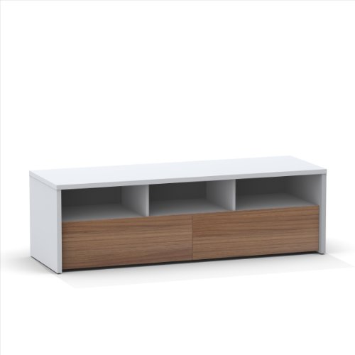 Liber-T 60-inch TV Stand 210403 from Nexera, White and Walnut