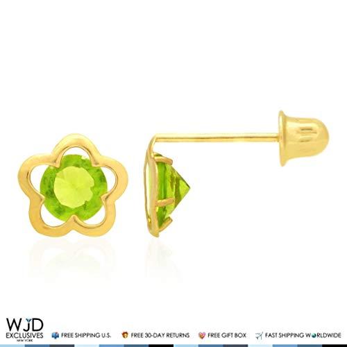 - 14k Yellow Gold Solitaire CZ Birthstone Flower Screw Back Stud Earrings, Peridot