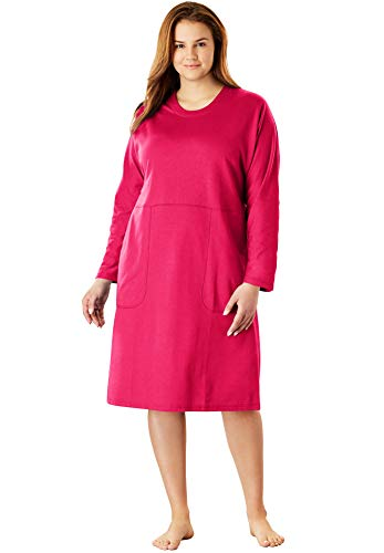 - Dreams & Co. Women's Plus Size French Terry Short Lounger - Raspberry Pink, 14/16