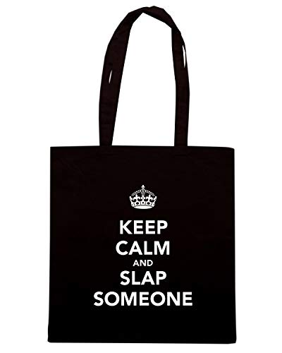 SOMEONE Shopper Shirt Speed SLAP AND KEEP CALM TKC0526 Borsa Nera EzdndCq