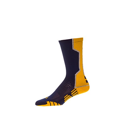 CSI I-Formation Athletic Crew Socks USA made Small Navy/Ath Gold - Navy Blue Youth Arch