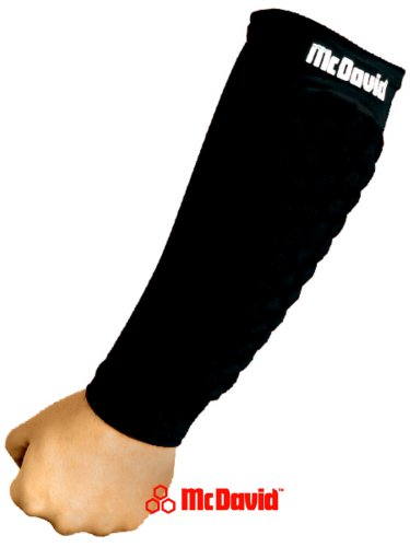 Mcdavid Forearm Pad - McDavid Hex Pad Forearm Support Recovery Padded Arm Sleeves 1 Pair, Black, Large