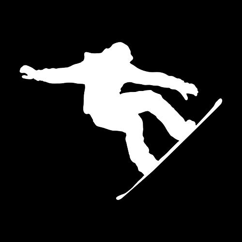 JMM Industries Snowboarder Vinyl Decal Sticker Car Window Bumper Premium Quality UV Resistant Die Cut (White, 3-Inches)