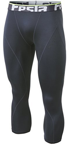 TM-YUC32-DGY_Large Tesla Men's Thermal Wintergear 3/4 Capri Shorts Compression Baselayer Tights ()