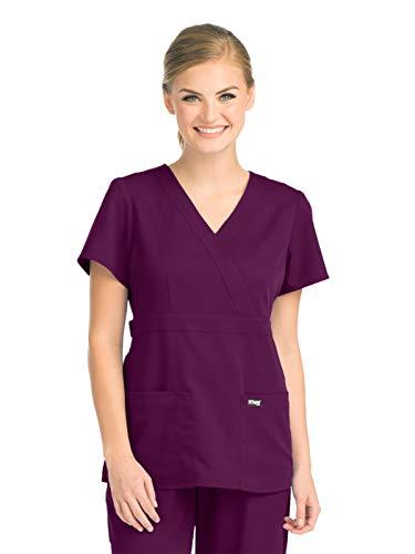 Grey's Anatomy 4153 Women's Mock Wrap Top Currant XXS