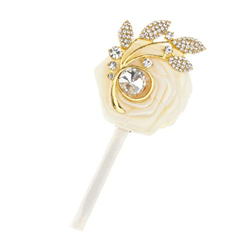 BROSCO Silk Rose Boutonniere Corsage Bride Groom Brooch Pin for Wedding Prom Party | Color - Milk White -