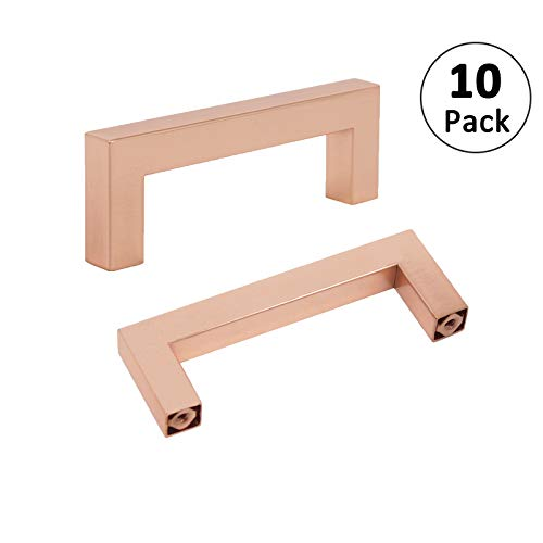 Rose Gold Cabinet Handles 3 1/2inch 90mm Hole Centers Satin Copper Handle Pull Kitchen Furniture Hardware Bathroom Cupboard Door Pull Knob 10 Pack Square Drawer Pulls 102mm 4inch ()