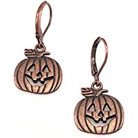 Antiqued Copper Jack-O-Lantern Pumpkin Earrings