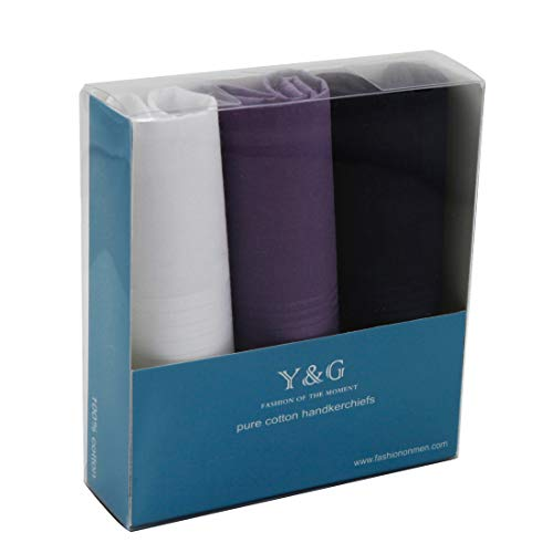 Y&G YEA0205 Halloween Gift White Mens Purple Solid Cotton Navy Handkerchiefs Formal Wear Presents Idea 3 Pics One Size with Gift Box ()