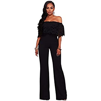 Eleun Jumpsuits For Women, Sexy Bodycon Jumpsuit Wide Legs Long Romper Plus  Size Women One Piece