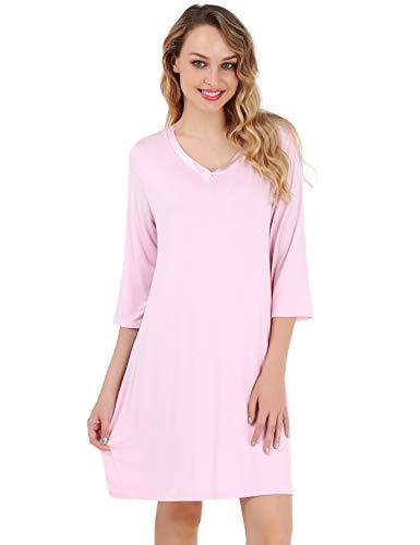 (UUANG Women's Nightgown V Neck Sleepwear 3/4 Sleeves Sleep Dress Nightshirt)