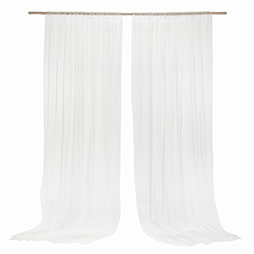 Ling's moment White Semi-Sheer Backdrop Curtains Set of 2 Panles 5 ft x 10 ft Chiffon Backdrop Drapes Wedding Ceremony Arch Decorations (Wedding Backdrop Drapes)