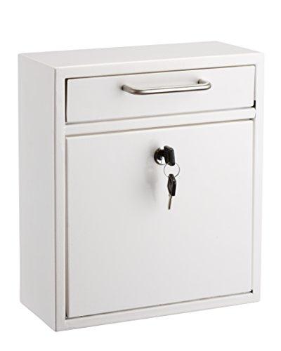 AdirOffice Locking Drop Box - Wall Mounted Mailbox - (Medium, White)