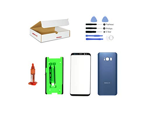 (md0410) Black Front Outer Glass Lens, Dark Coral Blue Back Cover Replacement Compatible Galaxy S8 G950 with Repair Kit (LCD Screen & Touch Digitizer Not Included) (Galaxy S3 Screen Replacement Blue)