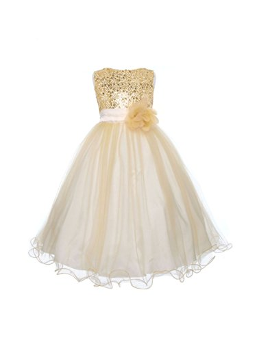 Absolutely Beautiful Sequined Bodice with Double Tulle Skirt Party flower Girl Dress-KD305-Gold-8