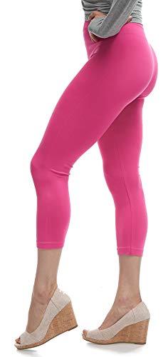 - Lush Moda Seamless Capri Length Basic Cropped Leggings - Variety of Colors - Fuchsia OS