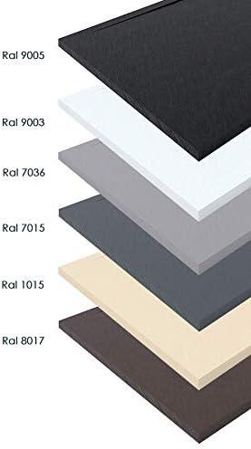 Blanc RAL 9003 Receveur douche r/ésine et charge min/érale texture ardoise avec cadre 70X120