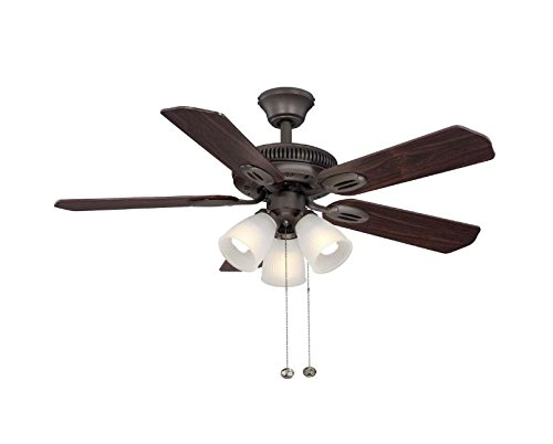 Hampton Bay Glendale 42 in. Oil Rubbed Bronze Ceiling Fan With Reversible Dark Teak/ Walnut Blades