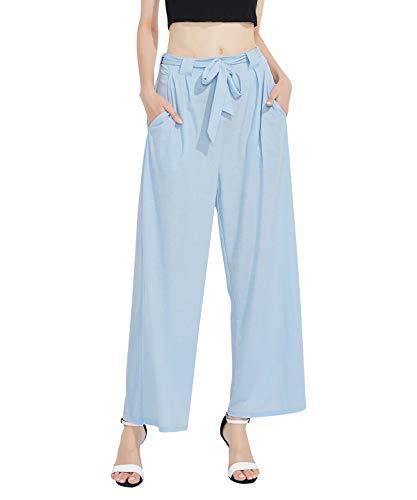 Women Linen Wide Leg Pant Casual Loose Soft Breathable Elastic Waist Beach Pants Palazzo TrouserFRKZ4YD_LBL_XL