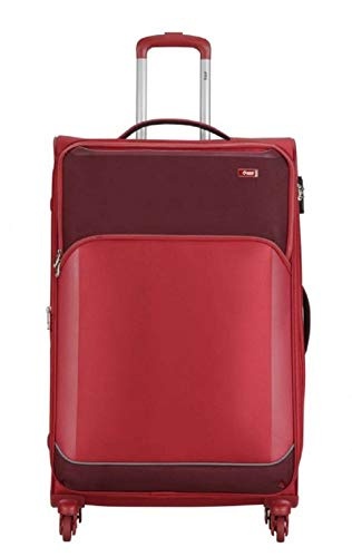 VIP Beat Plus Polyester 70 cm 24-inch Height Soft Sided Check in 4 Wheel Red Large Size Trolley Luggage Bag