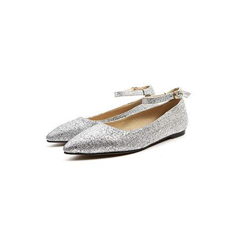 5 36 Silver Argenté Sandales AdeeSu Femme SDC05904 Compensées Capvwfq