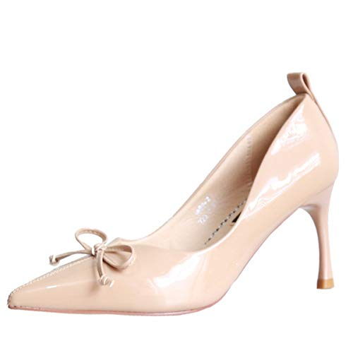 Shoes Mouth Shoes Bow Heel 7Cm High Women'S Pointy Color Shoes Thin Apricot Five Sexy Thirty Shallow Autumn Fine Tie KPHY Lacquer Heel nZqwY4OO