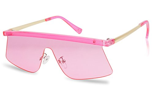 Futuristic Semi-Rimless Flat Top Color Transparent Visor Shield Mono Lens Sun Glasses (Neon - Transparent Visor Pink