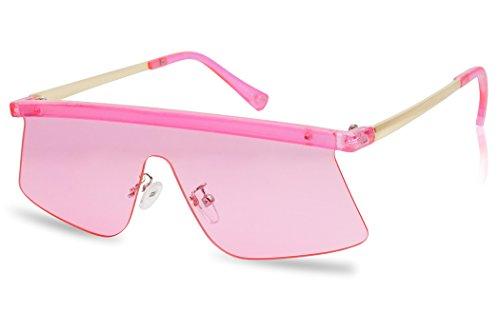 Futuristic Semi-Rimless Flat Top Color Transparent Visor Shield Mono Lens Sun Glasses (Neon - Transparent Pink Visor