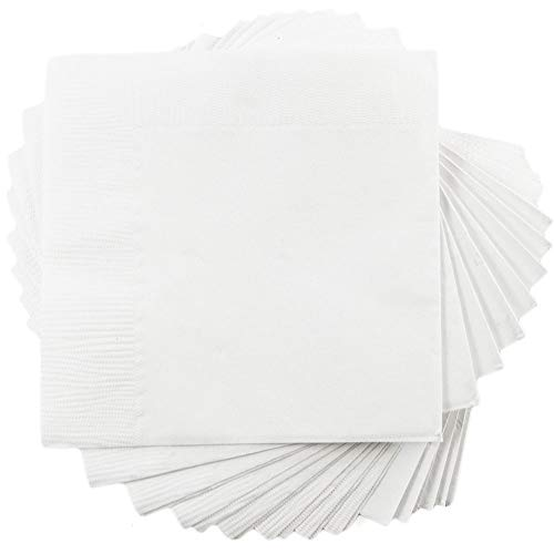 JAM PAPER Small Beverage Napkins - 5 x 5 - White - 50/Pack