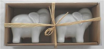 New In Box Porcelain WHITE ELEPHANT Salt & Pepper Shakers