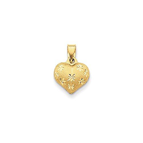 14k Gold Satin & Diamond Cut Puffed Heart Pendant (0.63 in x 0.43 in) (Diamond Cut Puffed Heart Pendant)