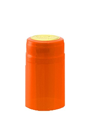 PVC Heat Shrink Capsules With Tear Tabs For Wine Bottles - 120 Count (Orange) by Lonely Mountain Homebrew & Winemaking