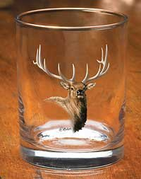 Elk Portrait Double Old Fashioned Glasses by Rosemary Millette (Elk Portrait)