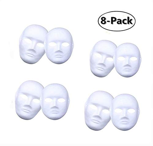Ru S White Masks, DIY Unpainted Masquerade Masks/Pack of 8 (Color-11) ()
