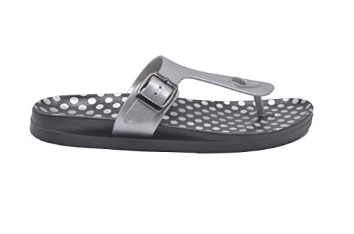 Gold Toe Ladies Sandal Size 9-10 M US Metallic PCU Slide with Polka Dot Print Footbed Slip On Thong Flip Flop Silver