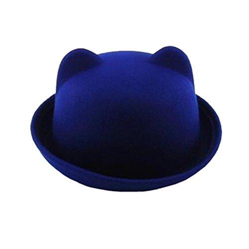 Lujuny Cute Cat Ear Bowler Hat - Wool Trendy Derby Hat with Roll-up Brim for Men Women (Blue)