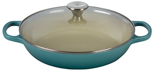 Glass Casserole Lid - Le Creuset of America Enameled Cast Iron Buffet Casserole with Glass Lid, 3 1/2 quart, Caribbean