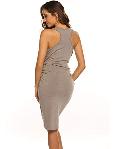 Tank Sheath - LuckyMore Ladies Summer Ruched Tank Sleeveless Sheath T-Shirt Dress Knee Length Bodycon Sundress Grey M
