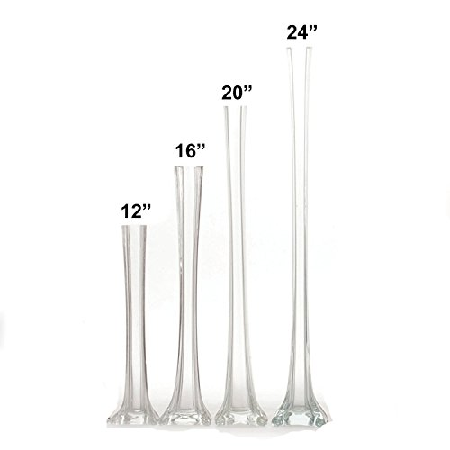 LACrafts Elegant Glass Eiffel Tower Vases for Centerpiece, Home Decor, Flower Arrangements in Clear, White or Black (Clear, 16