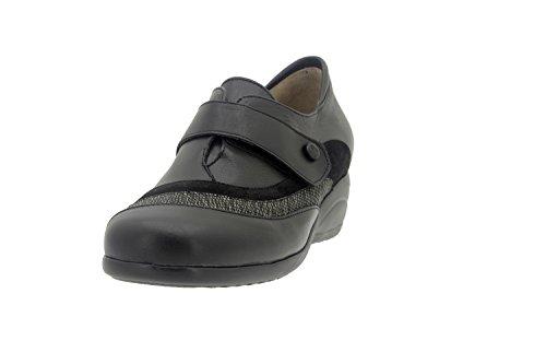 Calzado mujer confort de piel Piesanto 7981 zapato abotinado casual cómodo ancho Negro