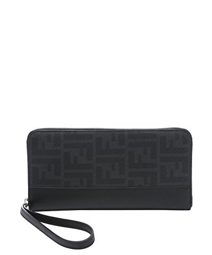 FENDI Men's Black Gray Zucca FF Zip Around Bifold Travel Wallet by Fendi