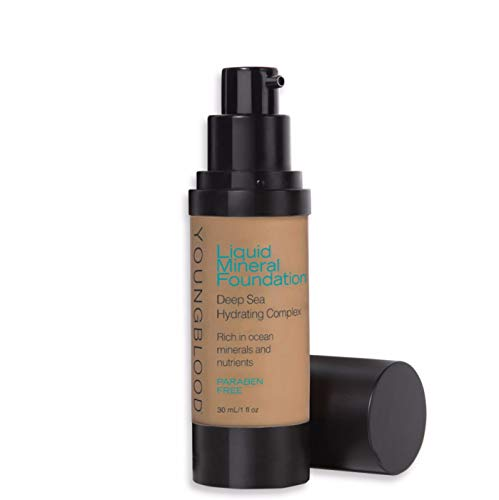 Youngblood Clean Luxury Cosmetics Liquid Mineral Foundation, Caribbean | Dewy Mineral Lightweight Full Coverage Makeup for Dry Skin Poreless Flawless Tinted Glow | Vegan, Cruelty-Free, Gluten-Free