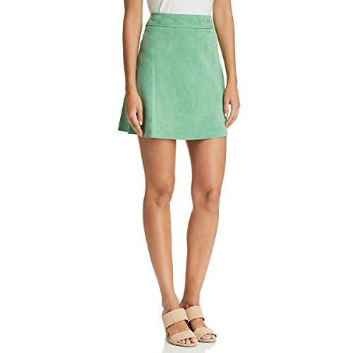 Theory Womens Tilde Lamb Leather High Waist Mini Skirt Green 12