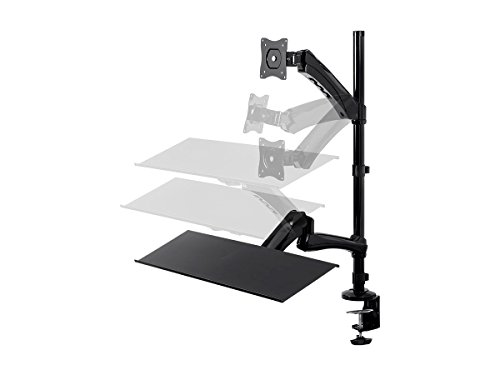 Monoprice Sit-Stand Articulating Monitor and Keyboard Workstation | Made of High-Grade Aluminum and Steel