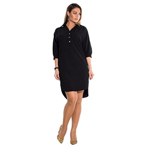 Rcool Mujeres Vestido Tallas Grandes de V Cuello Manga Larga Casual Mini Dress Tops Túnica Kaftan Tops Camiseta Larga Negro