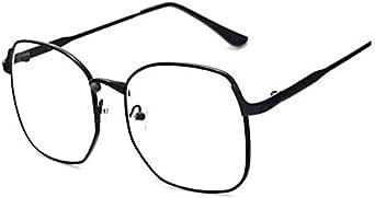 Metal Women Men Retro Flat Light Eyewear Big Frame Srteet Snap Glasses