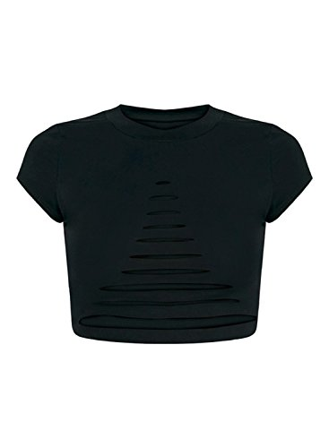 Women's Crop Solid Short Black Ripped Sleeve Achicgirl Top AZqRxwA