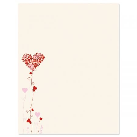 (Seeds of Love Letter Papers - Set of 25 Valentine'stationery Papers are 8 1/2